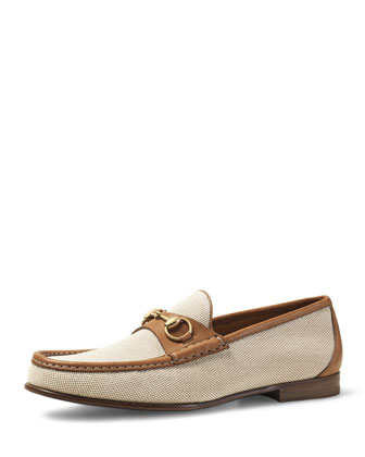 Canvas & Leather Horsebit Loafer, Brown/Cream