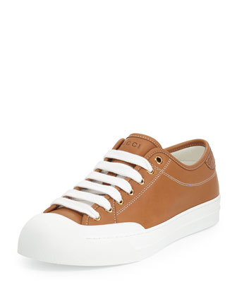 Leather Low-Top Sneaker, Light Brown