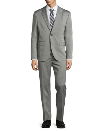 Two-Button Merino Wool Suit, Black/White