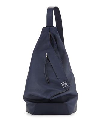 One Shoulder Leather Backpack, Blue