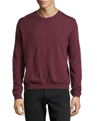 Long-Sleeve Crewneck Wool Sweater
