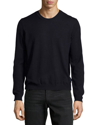 Crewneck Merino Sweater, Blue Navy