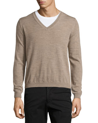 Merino V-Neck Sweater, Camel