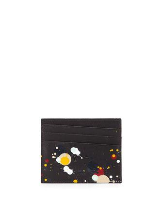 Paint-Splatter Leather Card Case, Black