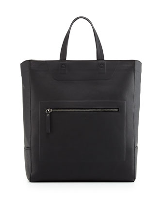 Leather Zip-Top Tote Bag, Black