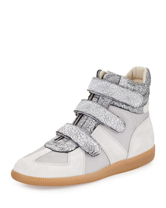 Three-Strap High-Top Sneaker, Silver/White