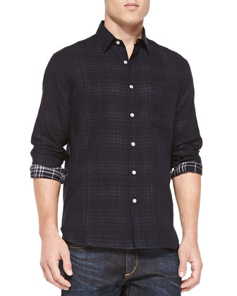 Button-Front Plaid Beach Shirt, Navy