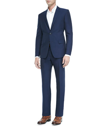 Textured Wool/Cotton Two-Button Suit