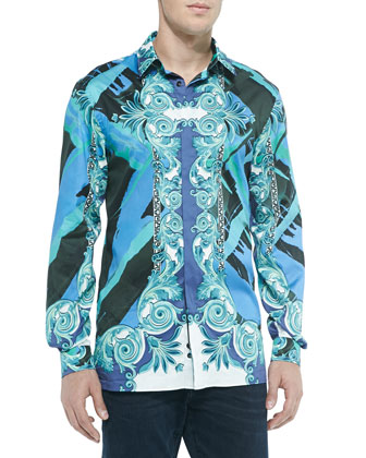 Baroque-Print Sport Shirt, Teal