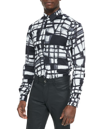 Geometric-Print Trend-Fit Shirt, Black/White