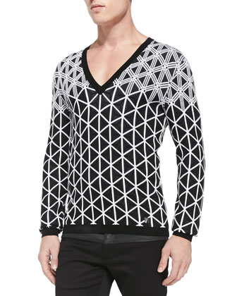 Geometric-Print Knit V-Neck Sweater