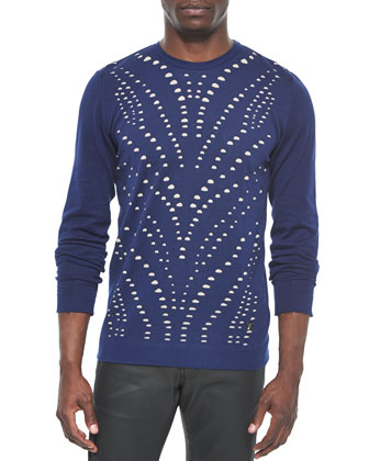 Perforated Crewneck Sweater, Navy/Beige