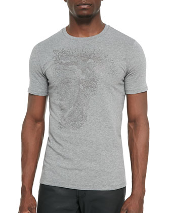 Short-Sleeve Beaded Tee, Gray