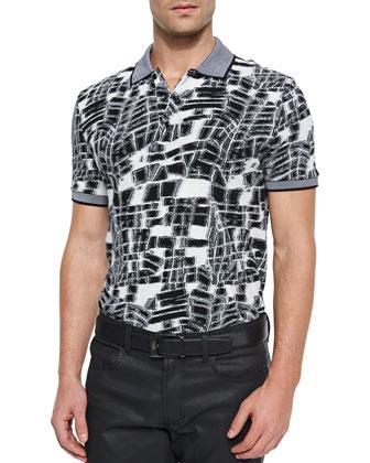 Geometric-Print Polo, Black/White