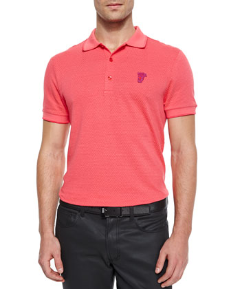 Basketweave Polo with Logo, Coral