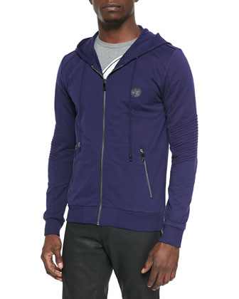 Knit Zip-Up Hoodie Jacket, Navy