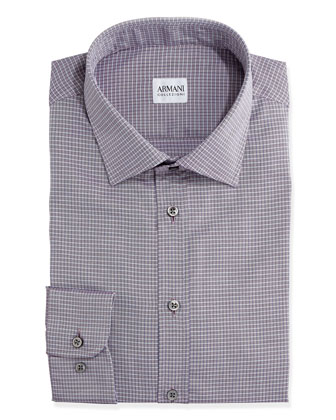 Herringbone Grid-Check Dress Shirt, Burgundy