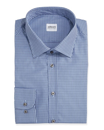 Textured Stripe Dress Shirt, Light Blue