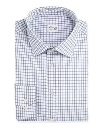Windowpane-Check Dress Shirt, Navy
