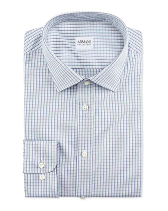 Check Woven Dress Shirt, Light Blue