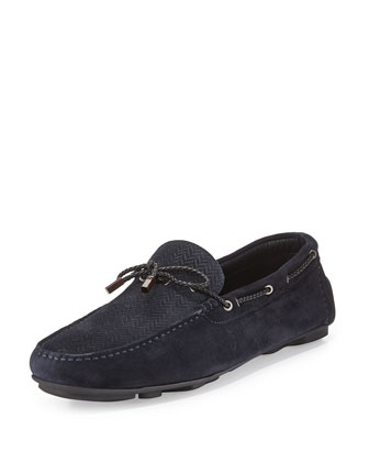 Hamptons Printed Suede Driver, Navy