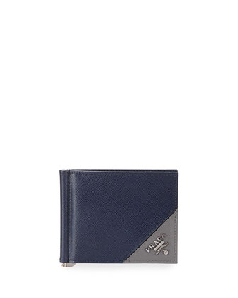 American Leather Card Case w/ Money Clip, Navy/Gray