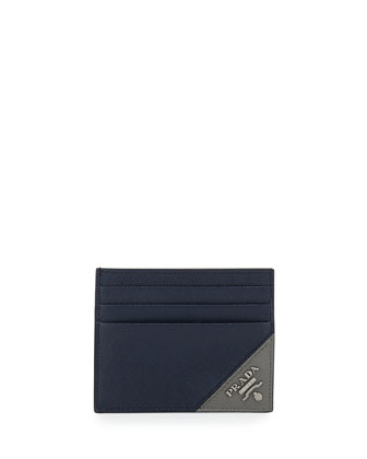 American Saffiano Card Case, Navy/Gray