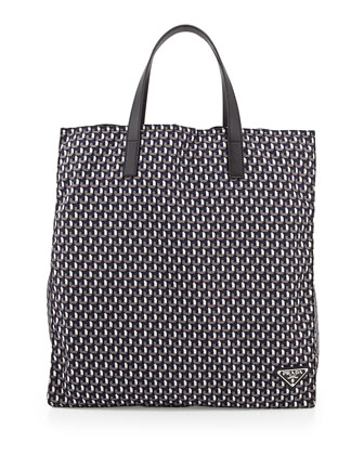 Men's Octagon-Print Nylon Tote Bag, Blue/Gray
