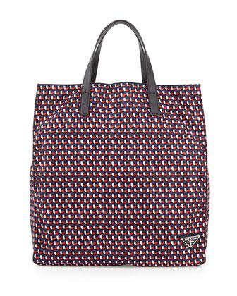 Men's Octagon-Print Nylon Tote Bag, Blue/Red