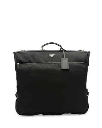 Saffiano-Trim Garment Bag, Black (Nero)