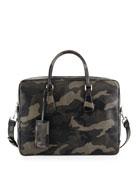 Camo Saffiano Zip-Around Briefcase, Gray/Navy