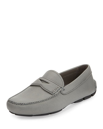 Saffiano Leather Penny Loafer, Gray