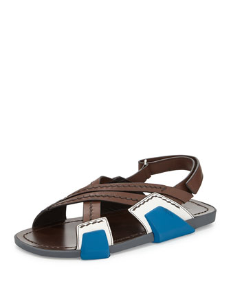 Leather Crisscross-Strap Sandal, Brown/Blue