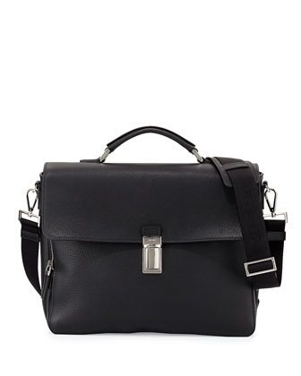 Vitello Flap-Top Briefcase, Black
