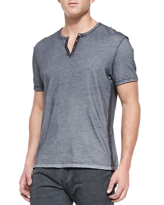 Crewneck Tee with Eyelets, Gray