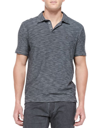 Short-Sleeve Peace Polo, Gray