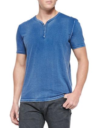 Short-Sleeve Henley Tee W/ Snaps, Cobalt