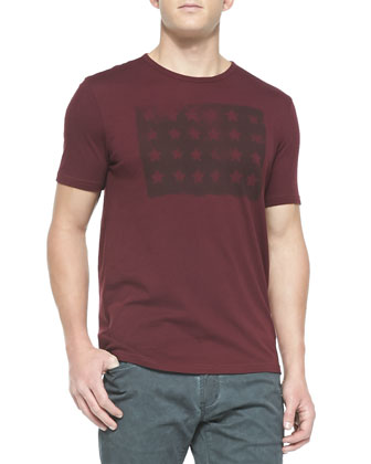 Short-Sleeve Tee with Stars, Oxblood