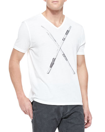 Short-Sleeve Tee with Drumsticks, White