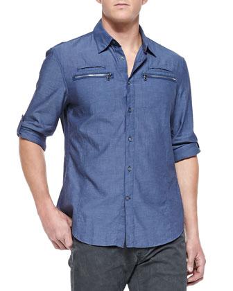 Double Zip-Pocket Shirt, Marine