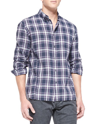 Plaid Button-Collar Shirt, Purple