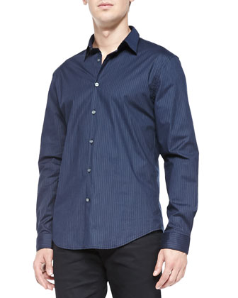 Button-Down Pinstriped Shirt, Indigo