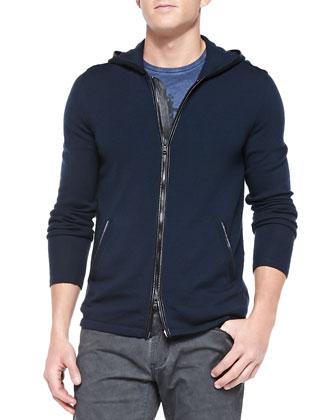 Zip-Front Hoodie Sweater, Indigo