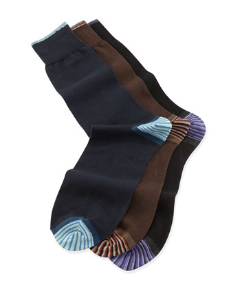 Barilla Solid 3-Pack Socks, Multi