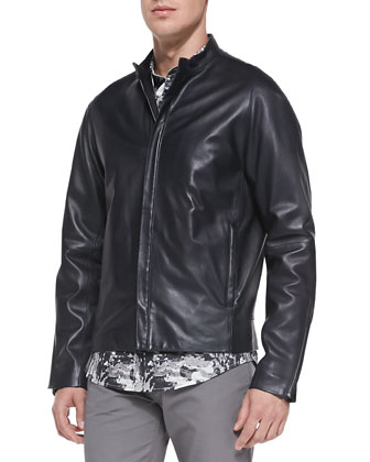 Russo Leather Jacket, Stephan Printed Shirt & Haydin 5-Pocket Pants