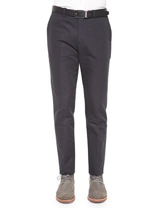 Zaine Woven Straight-Leg Pants, Dark Gray