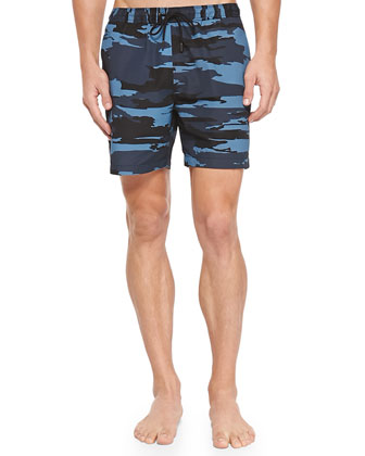 Camo-Print Swim Trunks