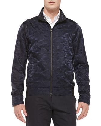 Saundrio Camo-Print Nylon Coat, Navy