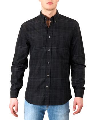 Tonal-Plaid Button-Collar Shirt