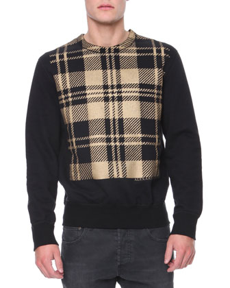 Check & Solid Knit Sweatshirt